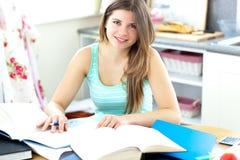 Étudiant captivant de brunette faisant son travail Image libre de droits