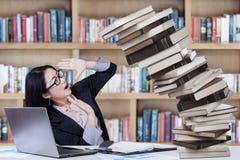 Étudiant d'école de gestion dans la bibliothèque Photo stock