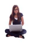 Étudiant d'ordinateur portatif image stock