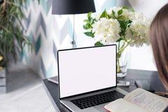Étudiant de femme apprenant en ligne utilisant le manuel et le filet-livre portatif avec la moquerie vers le haut de l'écran vide Photo stock