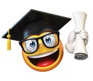 Étudiant de troisième cycle d'Emoji d'isolement sur le fond blanc, chapeau de port d'obtention du diplôme d'émoticône tenant le d illustration libre de droits