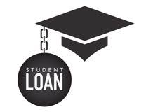Étudiant de troisième cycle Loan Icons - étudiant Loan Graphics pour l'aide financière ou l'aide d'éducation, les emprunts d'État Photos libres de droits