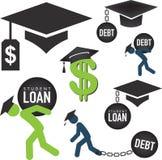 Étudiant de troisième cycle Loan Icons Illustration de Vecteur