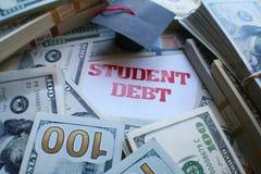 Étudiant Debt With Money de haute qualité photo libre de droits