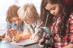 Étudiant doué dévoué ajustant le microscope Photos stock