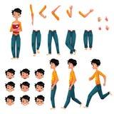 Étudiant, ensemble de création de caractère de jeune homme, différentes poses, gestes, visages illustration de vecteur