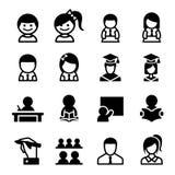 Étudiant et étude de l'ensemble d'icône Photographie stock