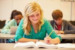 Étudiant féminin Studying At Desk de lycée dans la salle de classe Image libre de droits