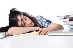 Étudiant fatigué avec des manuels Photos stock