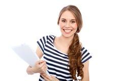 Étudiant Girl, d'isolement au-dessus du fond Photo libre de droits