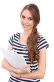 Étudiant Girl, d'isolement au-dessus du fond Images libres de droits