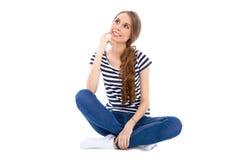 Étudiant Girl, d'isolement au-dessus du fond Image stock