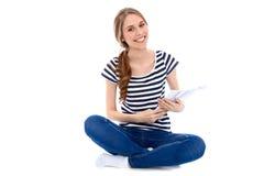 Étudiant Girl, d'isolement au-dessus du fond Images stock