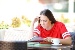 Étudiant inquiété essayant de comprendre la leçon dans un café photos stock
