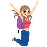 Étudiant Jumping Girl Photographie stock