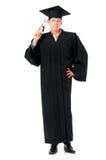 Étudiant licencié de type dans le manteau avec le diplôme Image stock