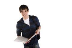 étudiant mâle de cahier de fixation Images stock