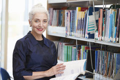 Étudiant mûr féminin Studying In Library photo libre de droits