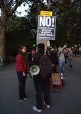Étudiant Protester, Washington Square Park, NYC, NY, Etats-Unis Photos stock