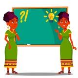 Étudiant Standing At Blackboard avec l'ampoule au-dessus de sa tête, vecteur d'idée Illustration d'isolement illustration stock