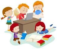 Étudiant Study dans la chambre de classe illustration de vecteur