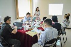 Étudiant universitaire chinois pendant la présentation Image stock