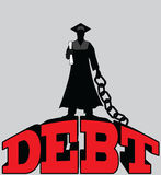 Étudiant universitaire Debt - diplômé enchaîné Images libres de droits