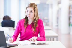 Étudiant universitaire féminin dans une bibliothèque Photo stock