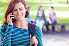 Étudiante à l'aide du téléphone portable avec les étudiants brouillés dans le parc Images stock
