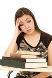 Étudiante accablée avec une pile des livres Images stock