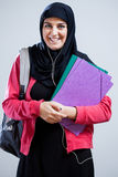 Étudiante arabe allant à l'école Photographie stock