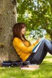 Étudiante faisant le travail contre l'arbre en parc Photos libres de droits