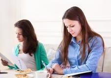 Étudiantes étudiant ensemble à la maison Photographie stock libre de droits