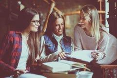 Étudiantes enseignant en café ensemble Photo stock
