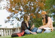 Étudiants étudiant sur le campus d'université Images libres de droits