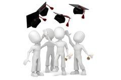 étudiants 3d branchant pour la graduation finale de colege Photos libres de droits