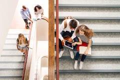 Étudiants adolescents sur des escaliers dans le lycée Images stock