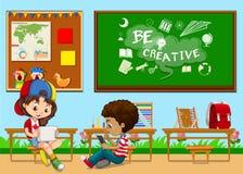 Étudiants apprenant dans la salle de classe illustration de vecteur