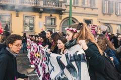 Étudiants célébrant le jour international du ` s de Wome Photographie stock
