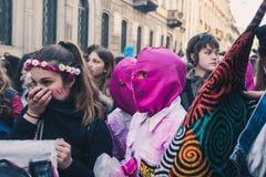 Étudiants célébrant le jour international du ` s de Wome Photo libre de droits