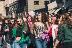 Étudiants célébrant le jour international du ` s de Wome Photo stock