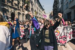 Étudiants célébrant le jour international du ` s de Wome Image libre de droits