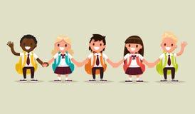 Étudiants d'école Écoliers et écolières de nationa différent illustration de vecteur