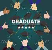 Étudiants de graduation des mains d'élève dans l'obtention du diplôme de lancement c de robe illustration libre de droits