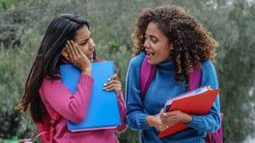 Étudiants de l'adolescence féminins hispaniques choqués en hiver photographie stock