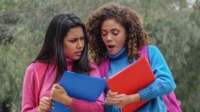 Étudiants de l'adolescence féminins hispaniques confus en hiver photo stock