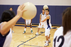 Étudiants de lycée jouant la boule de Dodge dans le gymnase photo stock