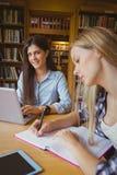 Étudiants de sourire à l'aide de l'ordinateur portable Photos stock