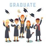 Étudiants de troisième cycle de jeunes d'université Concept de vecteur d'obtention du diplôme et d'éducation illustration stock