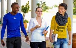 Étudiants divers sur le campus d'université Photographie stock libre de droits